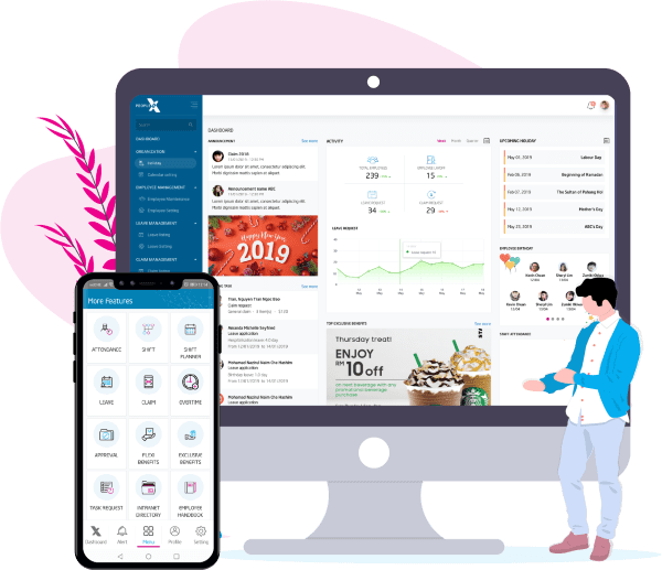 Integrated HR mobile app with intuitive admin dashboard for payroll